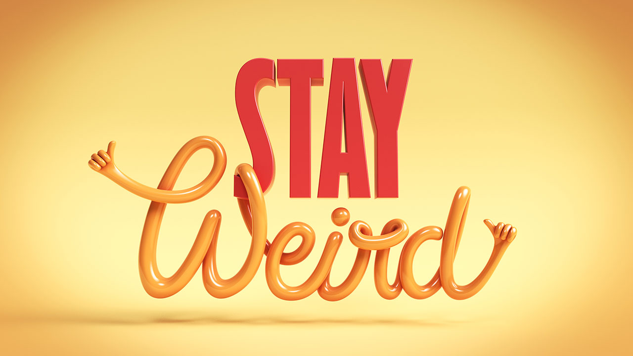 Stay weird greeting card